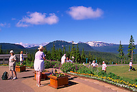 Mount Washington, Vancouver Island, BC, British Columbia, Canada - Senior Hikers hiking near Alpine Lodge overlooking Vancouver Island Ranges, Summer