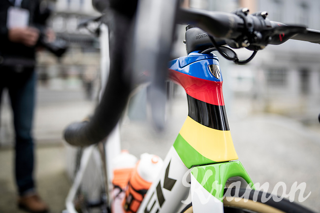 fresh 2019 World Champion Mads Pedersen (DEN/Trek-Segafredo) appearing in his rainbow jersey & on his rainbow bike for the very first time since becoming the newest world champion<br /> <br /> 79th Tour de l'Eurométropole 2019 (BEL/1.HC)<br /> One day race from La Louvière to Tournai (177km)<br /> <br /> ©kramon