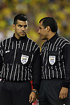 12 September 2007: Match Referee Baldomero Toledo (r) with Fourth Official Ricardo Salazar (l). The Brazil Men's National Team defeated the Mexico Men's National Team 3-1 at Gillette Stadium in Foxborough, Massachusetts in an international friendly.