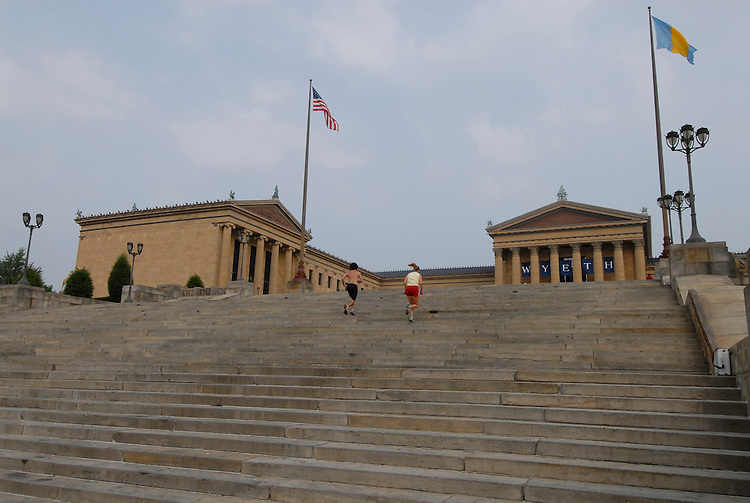 Philadelphia, Pennsylvania, PA USA. Steps of Philadelphia Museum of Art. Photo # 220-30410  Photo copyright Lee Foster, 510-549-2202, lee@fostertravel.com, www.fostertravel.com.