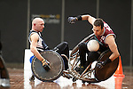 Victorian Captain Jason Lees puts in a huge hit on QLD's Cameron Carr during the final of the National Wheelchair Rugby Championships 2013.<br />