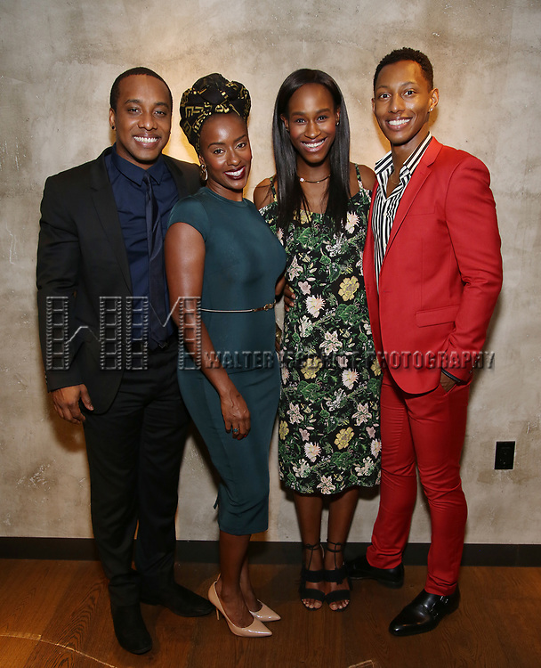 Hampton Fluker, Eboni Flowers Nneka Okafor, and Brandon Gill attends the Roundabout Theatre Company's Opening Night Party for 'Too Heavy For Your Pocket' at Burger and Lobster on October 5, 2017 in New York City.