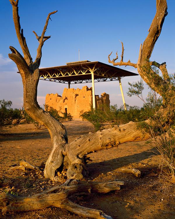 Afternoon light on Casa Grande Ruins; Casa Grande Ruins National Monument, AZ