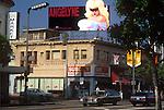 Angelyne billboard over Hollywood Blvd.