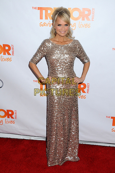 "Kristin Chenoweth.The Trevor Project's ""Trevor Live"" 2012 held at the Hollywood Palladium, Hollywood, California, USA..December 2nd, 2012.full length silver gold dress hands on hips sequins sequined .CAP/ADM/BP.©Byron Purvis/AdMedia/Capital Pictures."