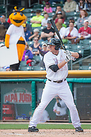 Roger Kieschnick (33) of the Salt Lake Bees at bat against the Reno Aces in Pacific Coast League action at Smith's Ballpark on May 10, 2015 in Salt Lake City, Utah.  Salt Lake defeated Reno 9-2 in Game One of the double-header. (Stephen Smith/Four Seam Images)