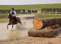 Members of theWest Somerset Pony Club tackle one of the water jumps.