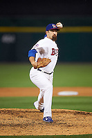 Buffalo Bisons relief pitcher Colt Hynes (14) delivers a warmup pitch during a game against the Lehigh Valley IronPigs on July 9, 2016 at Coca-Cola Field in Buffalo, New York.  Lehigh Valley defeated Buffalo 9-1 in a rain shortened game.  (Mike Janes/Four Seam Images)