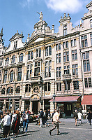 Brussels: Grand Place, North Side: Ensemble from 1696-1698. From far left: The Amman's; the Pidgeon (Painters), The Mole (Tailors), The Angel, & Joseph & Anne.  Photo '87.