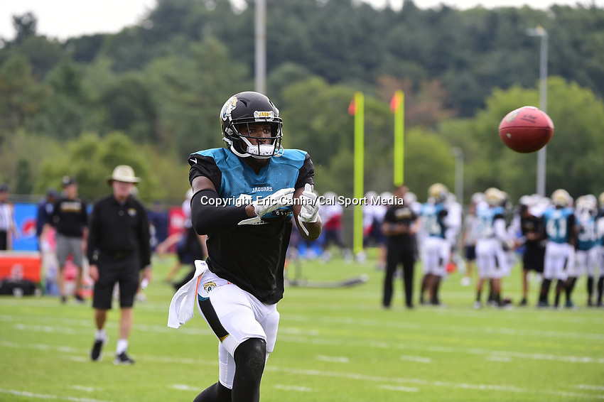 August 7, 2017: Jacksonville Jaguars strong safety Barry Church (42) makes a catch during a joint practice at New England Patriots training camp where they hosted the Jacksonville Jaguars on the practice fields at Gillette Stadium, in Foxborough, Massachusetts. Eric Canha/CSM
