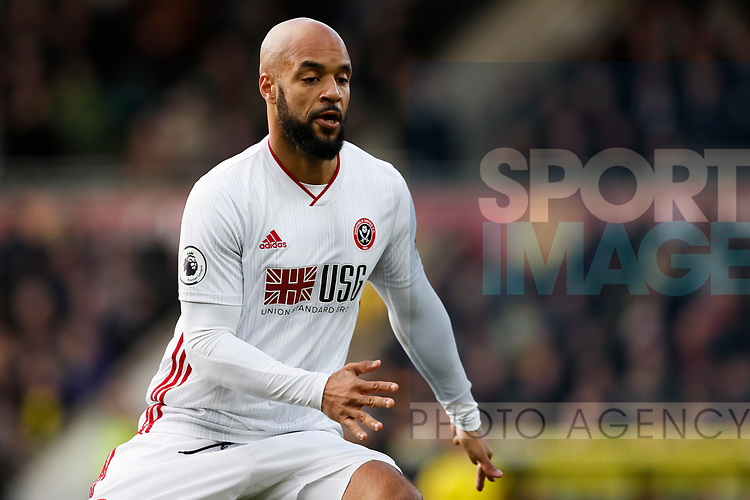 David McGoldrick of Sheffield United during the Premier League match at Carrow Road, Norwich. Picture date: 8th December 2019. Picture credit should read: James Wilson/Sportimage