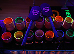 """PVC Pipes and paddles during the """"Blue Man Group: Ready...Go!"""" press preview exhibit at the Museum of the City of New York on July 16, 2019 in New York City."""