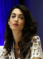 Lebanese-British lawyer, Amal Clooney attends a Private Sector Call to Action Leaders Summit for Refugees during the United Nations 71st session of the General Debate at the United Nations General Assembly at United Nations headquarters in New York, New York, USA, 20 September 2016. Photo Credit: Peter Foley/CNP/AdMedia