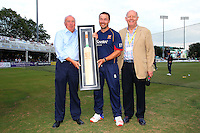 Graham Napier (C) of Essex receives a presentation from Chief Executive Derek Bowden (L) and John Faragher to mark his Essex career during Essex Eagles vs Glamorgan, NatWest T20 Blast Cricket at the Essex County Ground on 29th July 2016
