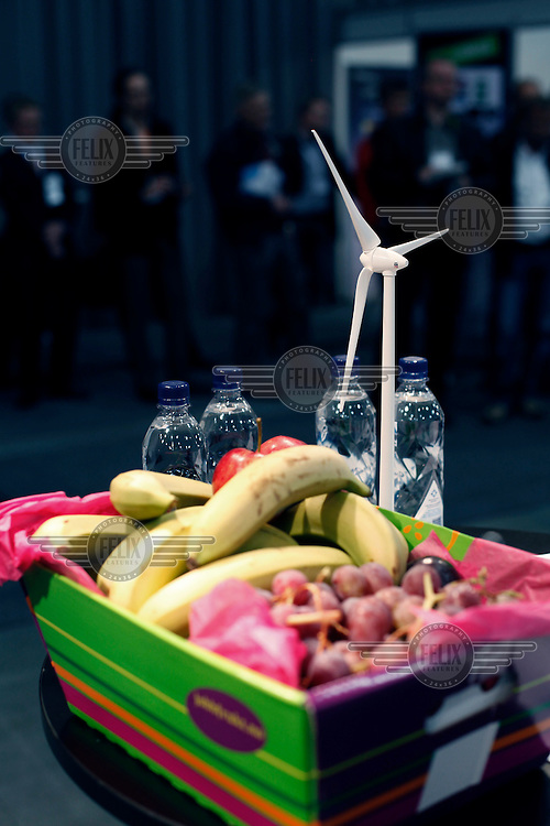 """Politically correct food and drinks at NGO exhibition. Renewable sources will be helping to meet the world's demand for energy in the future. This development opens new markets and opportunities for business. Hoping to make """"green business"""" and """"green profit"""" over 60 exhibitors took part in the The North European Renewable Energy Convention (Nerec) , in Norway, presenting their solutions for renewable energy in the future. .© Fredrik Naumann/Felix Features"""
