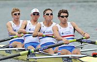 Amsterdam, NETHERLAND, GBR LM4-. Bow. Jonathan CLEGG, Jon PRESTON, William FLETCHER and Jamie KIRKWOOD..  2011 FISA U23 World Rowing Championships, {dow], {date} [Mandatory credit:  Intersport Images].