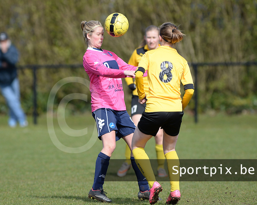 20160328 - Zwevezele , BELGIUM : turnhout's Larissa Van Gils pictured in a duel with Zwevezele's Ellen Lagrange (8) during the soccer match between the women teams of Voorwaarts Zwevezele and FC Turnhout  , on the 20th matchday of the Belgian Third division for Women on Saturday 28 th March 2016 in Zwevezele .  PHOTO SPORTPIX.BE DAVID CATRY