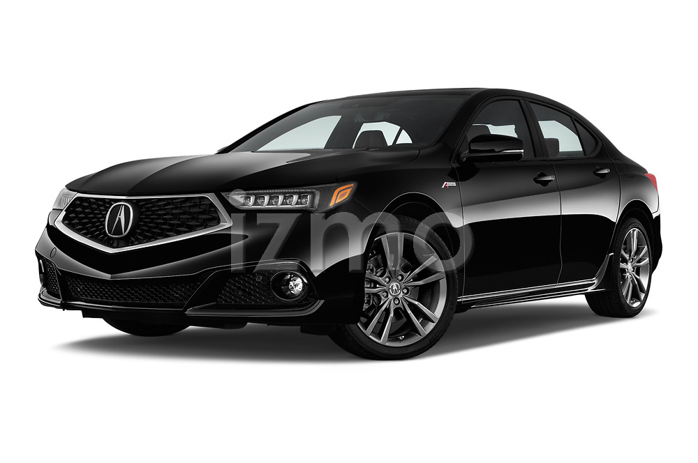 Stock pictures of low aggressive front three quarter view of a 2018 Acura TLX AUTO Technology & A-Spec Pack  RED Door 4 Sedan