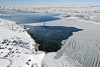 Aerial of frozen Lake Pueblo
