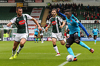 Fleetwood Town's  Devante Cole crosses into the box<br /> <br /> Photographer Andrew Kearns/CameraSport<br /> <br /> The EFL Sky Bet League One - Plymouth Argyle v Fleetwood Town - Saturday 7th October 2017 - Home Park - Plymouth<br /> <br /> World Copyright &copy; 2017 CameraSport. All rights reserved. 43 Linden Ave. Countesthorpe. Leicester. England. LE8 5PG - Tel: +44 (0) 116 277 4147 - admin@camerasport.com - www.camerasport.com