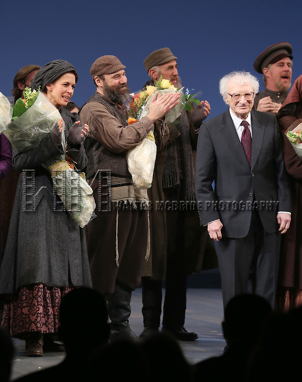 Jessica Hecht, Danny Burstein and Sheldon Harnick with the cast during the Broadway Opening Night Performance Curtain Call bows for 'Fiddler On The Roof'  at the Broadway Theatre on December 20, 2015 in New York City.
