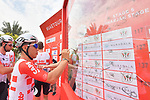 Yesterday's stage winner Caleb Ewan (AUS) Lotto-Soudal signs on before the start of Stage 5 of the 2019 UAE Tour, running 181km form Sharjah to Khor Fakkan, Dubai, United Arab Emirates. 28th February 2019.<br /> Picture: LaPresse/Massimo Paolone | Cyclefile<br /> <br /> <br /> All photos usage must carry mandatory copyright credit (&copy; Cyclefile | LaPresse/Massimo Paolone)