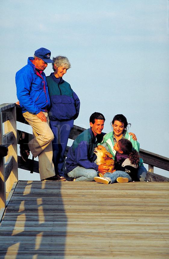 Three generation family on vacation, Outer Banks, North Carolina