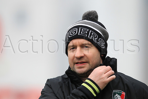 February 18th 2017,  Leicester, England; Aviva Premiership Rugby, Leicester versus Bristol; Tigers coach Geordan Murphy takes the pre-match warm-up session