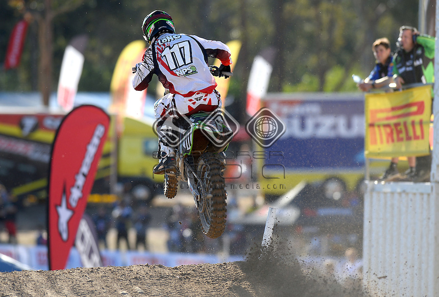 Dylan Long / Kawasaki<br /> MX Nationals / Round 6 / MX1<br /> Australian Motocross Championships<br /> Raymond Terrace NSW<br /> Sunday 5 July 2015<br /> &copy; Sport the library / Jeff Crow