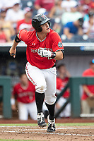 Texas Tech Red Raiders shortstop Josh Jung (16) runs to first base during Game 5 of the NCAA College World Series against the Arkansas Razorbacks on June 17, 2019 at TD Ameritrade Park in Omaha, Nebraska. Texas Tech defeated Arkansas 5-4. (Andrew Woolley/Four Seam Images)