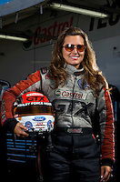 Sept. 19, 2010; Concord, NC, USA; NHRA funny car driver Ashley Force Hood poses for a portrait during the O'Reilly Auto Parts NHRA Nationals at zMax Dragway. Mandatory Credit: Mark J. Rebilas for ESPN the Magazine