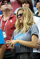NEW YORK, NY - September 5, 2012: Brooklyn Decker, wife of professional tennis player Andy Roddick (USA), displays emotion during his loss to Juan Martin Del Potro (ARG) during their quarterfinal Men's Singles match on Day 10 of the 2012 U.S. Open Tennis Championships at the USTA Billie Jean King National Tennis Center in Flushing, Queens, New York, USA. © mpi105/MediaPunch Inc. /NortePhoto.com<br />