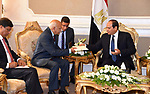 Egyptian President Abdel Fattah al-Sisi meets with Indian Minister of State for External Affairs Mobashar Jawed Akbar, in Cairo, Egypt, on October 21, 2017. Photo by Egyptian President Office