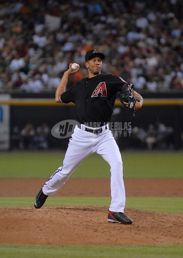 Jun 23, 2007; Phoenix, AZ, USA; Arizona Diamondbacks pitcher (37) Juan Cruz against the Baltimore Orioles at Chase Field. Mandatory Credit: Mark J. Rebilas