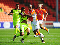 Blackpool's Kyle Vassell is fouled by Exeter City's Troy Brown<br /> <br /> Photographer Kevin Barnes/CameraSport<br /> <br /> Football - The EFL Sky Bet League Two - Blackpool v Exeter City - Saturday 6th August 2016 - Bloomfield Road - Blackpool<br /> <br /> World Copyright &copy; 2016 CameraSport. All rights reserved. 43 Linden Ave. Countesthorpe. Leicester. England. LE8 5PG - Tel: +44 (0) 116 277 4147 - admin@camerasport.com - www.camerasport.com
