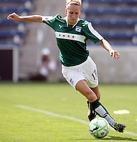 Chicago Red Star defender Natalie Spilger (13) maneuvers along the sideline.  The Washington Freedom defeated the Chicago Red Stars 3-2 at Toyota Park in Bridgeview, IL on July 26, 2009.