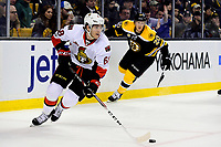 Tuesday, March 21, 2017: Ottawa Senators left wing Mike Hoffman (68) works to get the puck out of his defensive zone during the National Hockey League game between the Ottawa Senators and the Boston Bruins held at TD Garden, in Boston, Mass. Ottawa defeats Boston 3-2 in regulation time. Eric Canha/CSM