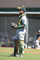Oakland Athletics catcher Robert Mullen (21) during an Instructional League game against the San Francisco Giants on October 13, 2014 at Giants Baseball Complex in Scottsdale, Arizona.  (Mike Janes/Four Seam Images)