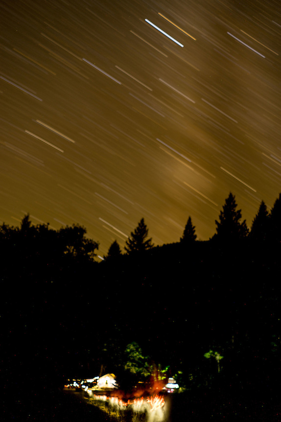 Stars Over Upper Falls Campsite, Clear Creek Ranch, French Gulch, California, US