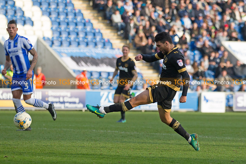 Danny Rose of Portsmouth shot is initially saved but he reacts quickest to score the second Portsmouth goal during Colchester United vs Portsmouth, Sky Bet EFL League 2 Football at the Weston Homes Community Stadium on 11th March 2017