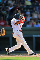 Shortstop Jeremy Rivera (35) of the Greenville Drive bats in a game against the Columbia Fireflies on Sunday, May 8, 2016, at Fluor Field at the West End in Greenville, South Carolina. Greenville won, 5-4. (Tom Priddy/Four Seam Images)