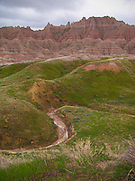 An ephemeral stream by the Red Palisades in Badlands National Park, South Dakota.