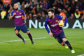 2nd February 2019, Camp Nou, Barcelona, Spain; La Liga football, Barcelona versus Valencia; Lionel Messi of FC Barcelona turns to celebrate as scores the penalty and his side's first goal for 1-2 in the 39th minute