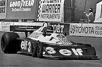LONG BEACH, CA: Ronnie Peterson drives the Tyrrell P34 5/Ford Cosworth DFV during practice for the United States Grand Prix West on April 3, 1977, on the temporary street circuit in Long Beach, California.
