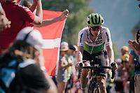 """Julien Vermote (BEL/DimensonData) coming through """"Dutch Corner"""" (#7) on Alpe d'Huez<br /> <br /> Stage 12: Bourg-Saint-Maurice / Les Arcs > Alpe d'Huez (175km)<br /> <br /> 105th Tour de France 2018<br /> ©kramon"""