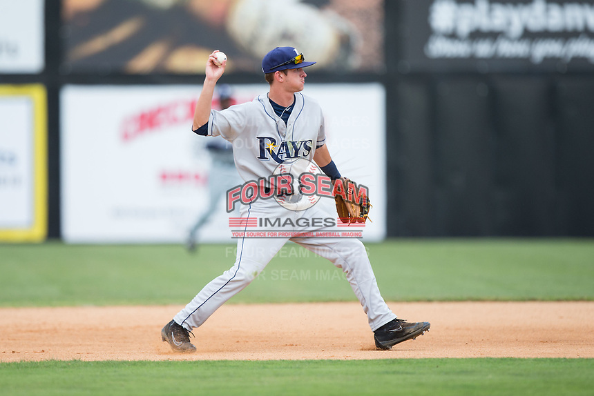 Princeton Rays second baseman Justin Bridgman (3) makes a throw to first base against the Danville Braves at American Legion Post 325 Field on June 25, 2017 in Danville, Virginia.  The Braves walked-off the Rays 7-6 in 11 innings.  (Brian Westerholt/Four Seam Images)