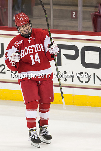 Bobo Carpenter (BU - 14) - The visiting Boston University Terriers defeated the Boston College Eagles 3-0 on Monday, January 16, 2017, at Kelley Rink in Conte Forum in Chestnut Hill, Massachusetts.