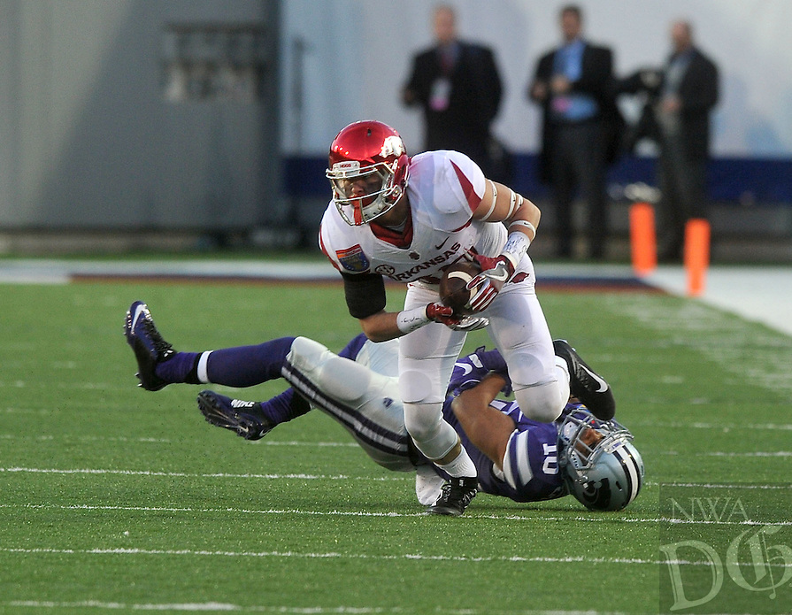 NWA Democrat-Gazette/MICHAEL WOODS • @NWAMICHAELW<br /> University of Arkansas receiver Arkansas wide receiver Drew Morgan (80) shakes Kansas State defender Donnie Starks (10) as he runs for a big gain in the 3rd quarter of the Razorbacks 45-23 win over Kansas State in the 57th annual AutoZone Liberty Bowl January 2, 2016.