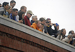 (Cambridge Ma 101913)  Spectators look on from the Elliot Bridge, during the 2013 Head of the Charles Regatta, Saturday on the Charles River in Cambridge. (Jim Michaud Photo) For Sunday