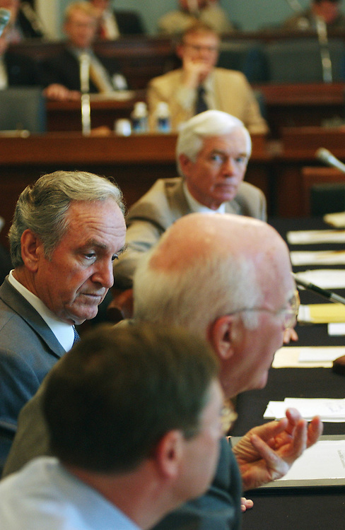 4/18/02.FARM BILL CONFERENCE--Senate Agriculture Chairman Tom Harkin, D-Iowa, far left, listens as Sen. Patrick J. Leahy, D-Vt., speaks during the farm bill conference in the House Agriculture meeting room. Sen. Kent Conrad, D-N.D., is at bottom; Sen. Thad Cachran, R-Miss., is at top..CONGRESSIONAL QUARTERLY PHOTO BY SCOTT J. FERRELL